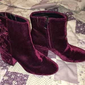 Kenneth Cole Red Velvet Booties